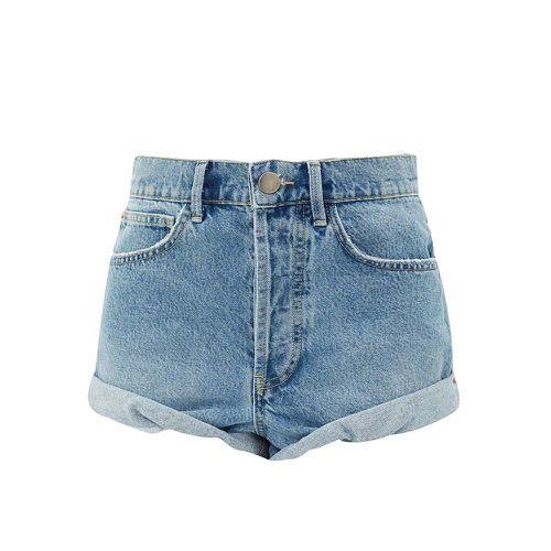 Rivet Cut-Off Denim Shorts ($102)