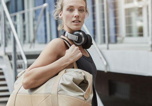Blonde woman leaving a gym