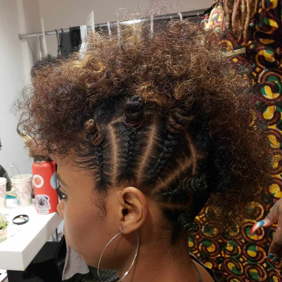 Curly fauxhawk with bantu knots