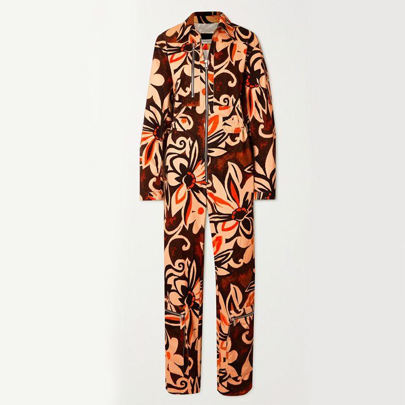 Floral-Print Cotton-Corduroy Jumpsuit