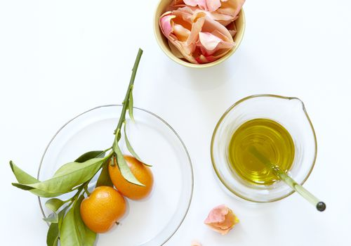 Rose petals and kumquats with fine oils