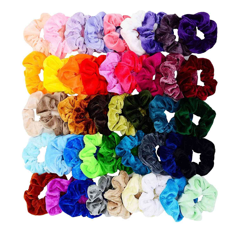 Chloven Velvet Hair Scrunchies, 45 Assorted Colors