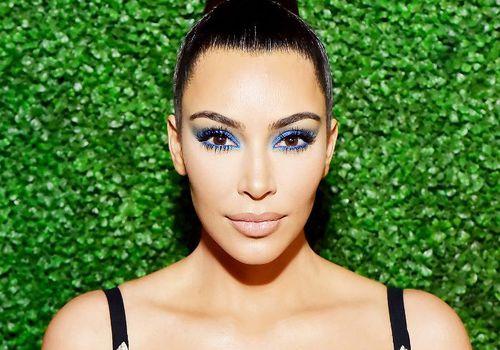 kim kardashian with blue eye makeup