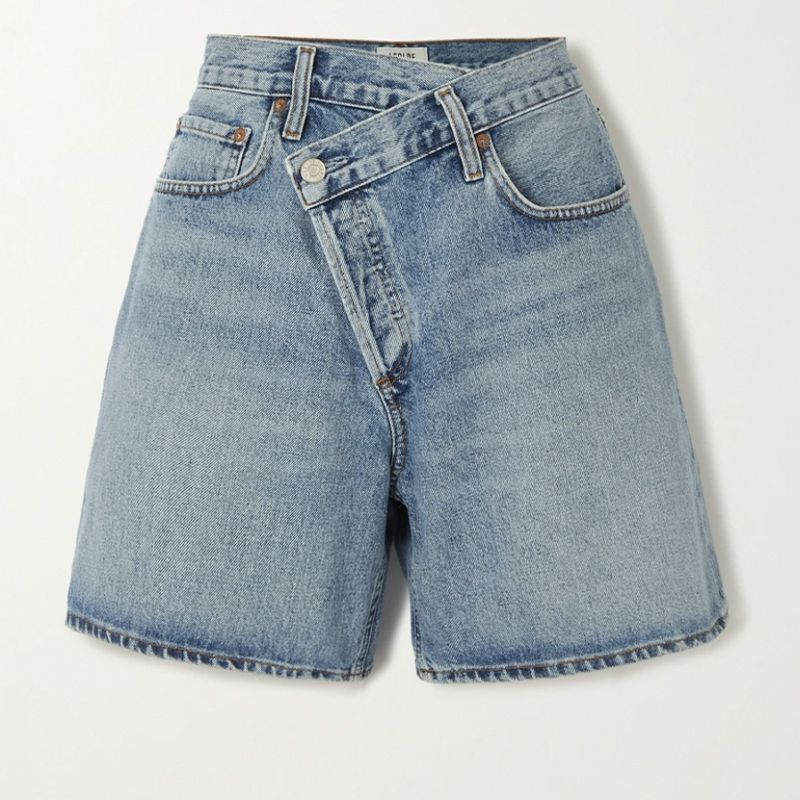 Criss Cross Organic Denim Shorts