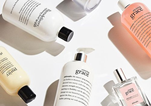 Philosophy products on a white background