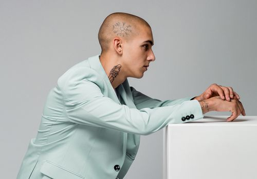 Masculine person with a bald head