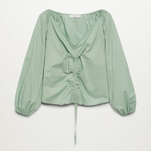 Mango Cotton Blouse with Ruched Detail