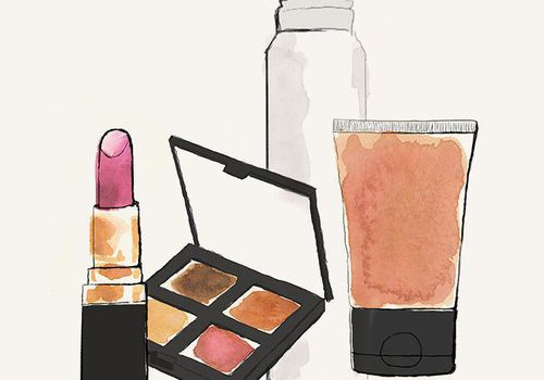 illustration of makeup products
