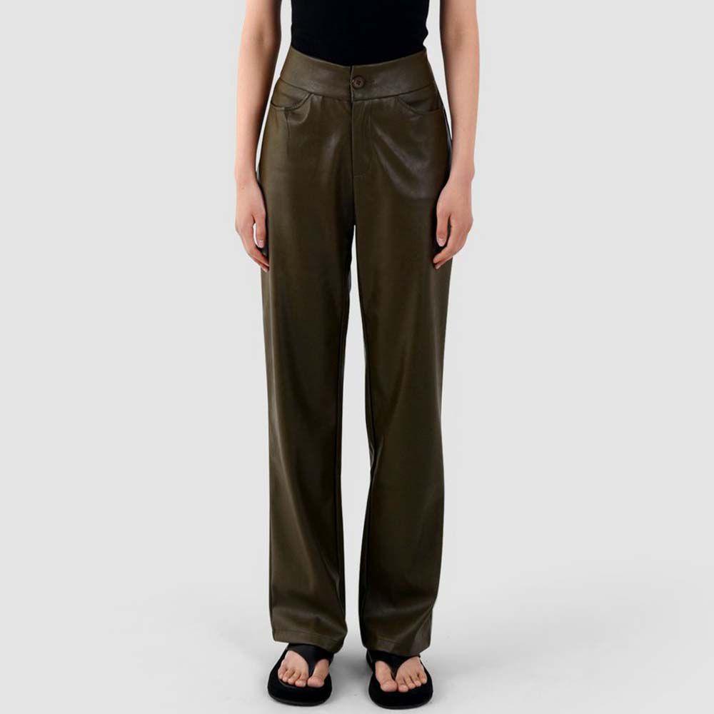 Khaki Vegan Leather Pants