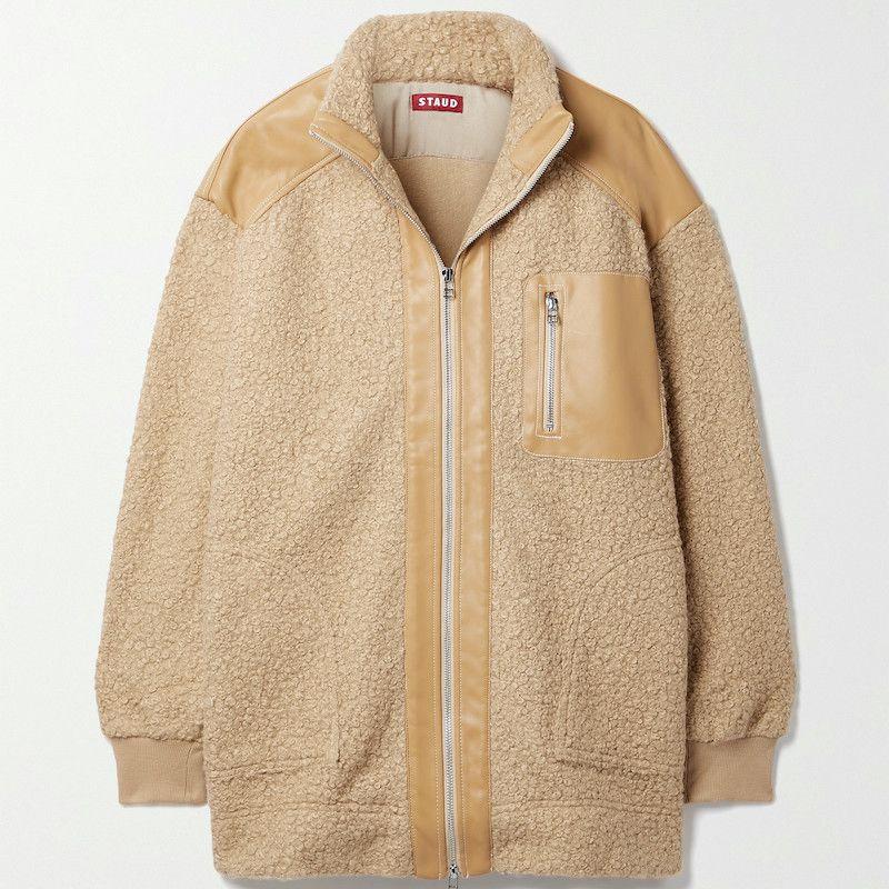 Staud Scrabble Faux Leather-Trimmed Fleece Coat