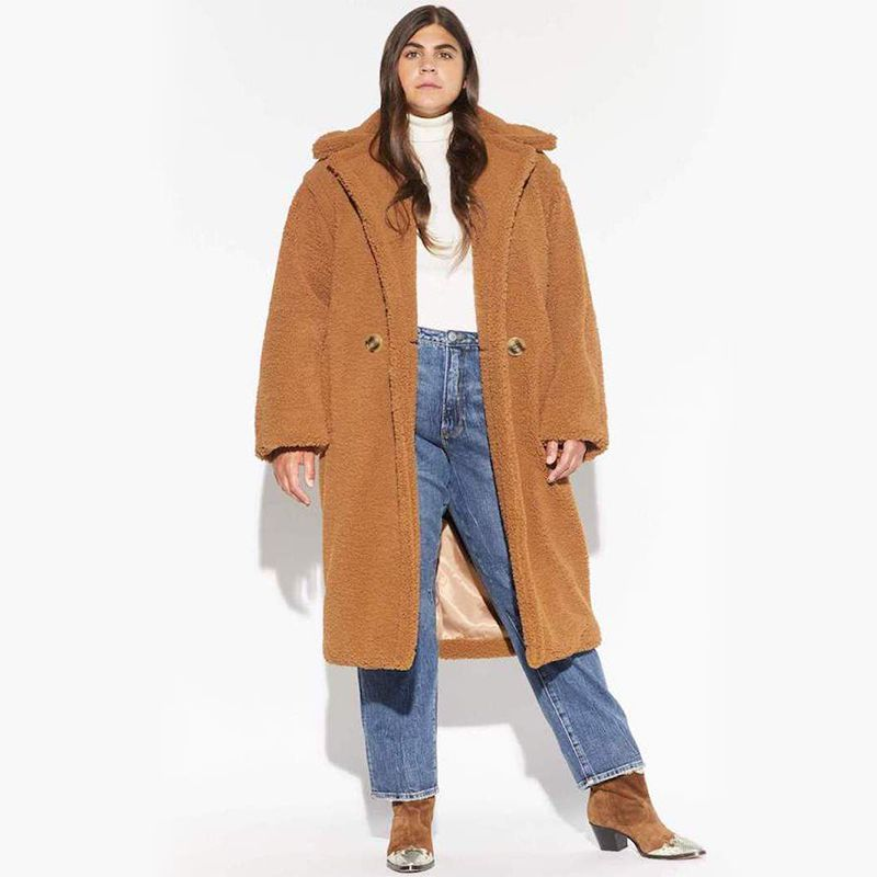 Faux Shearling Double Breasted Long Coat