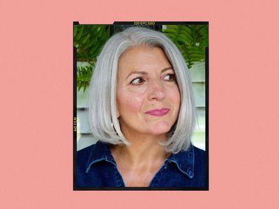 woman with silver asymmetrical bob