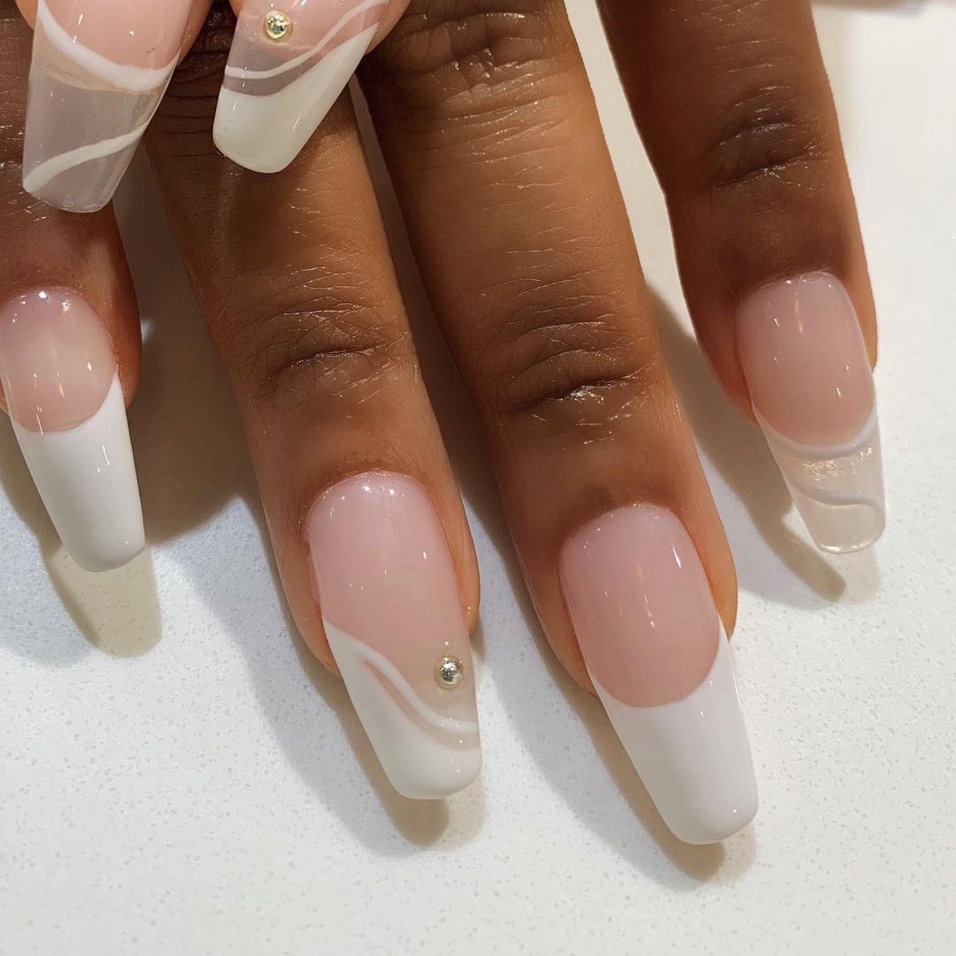 Person with Neutral Acrylic Nails