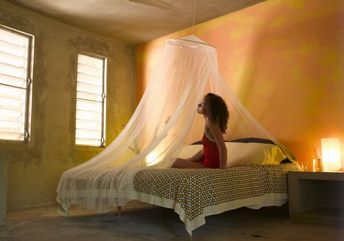 Black woman on a bed with a mosquito net surrounding it