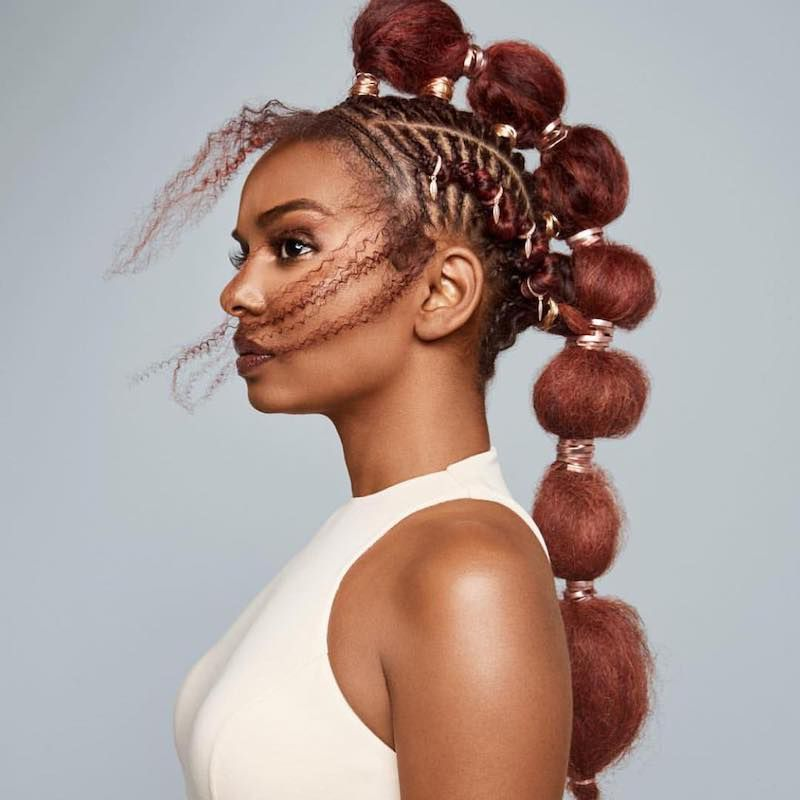 Cornrow Hairstyles Red Afro Puffs
