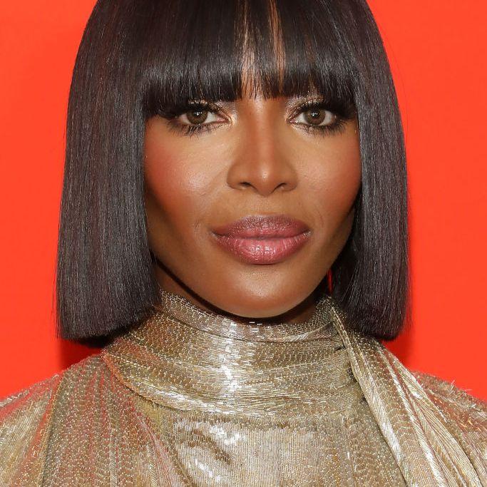 Naomi Campbell blunt bob with bangs
