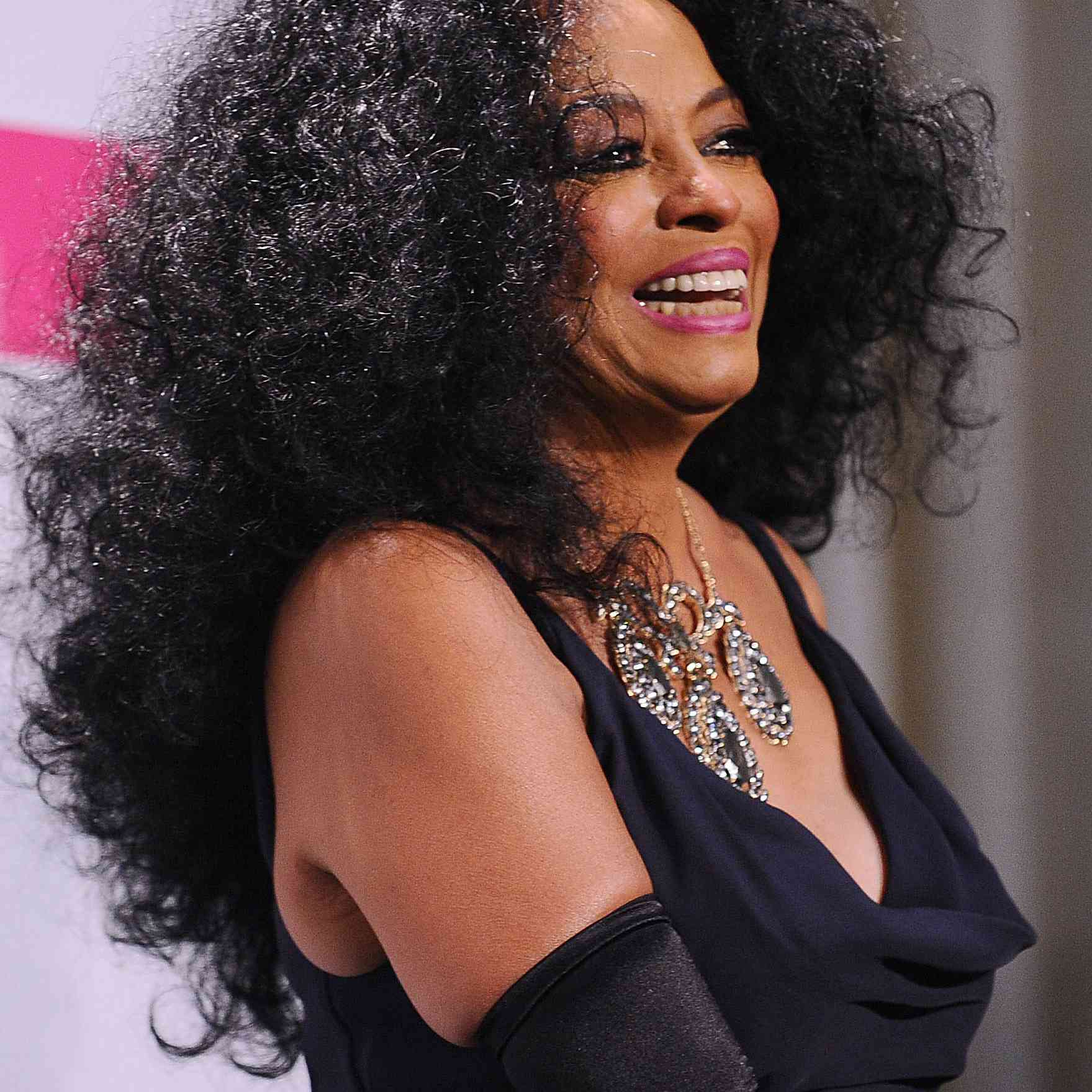Diana Ross long, curly natural hair