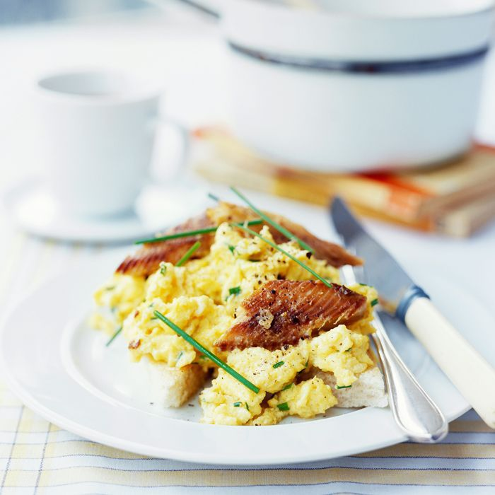 A typical meal on the keto diet: a plate of scrambled eggs and smoked fish