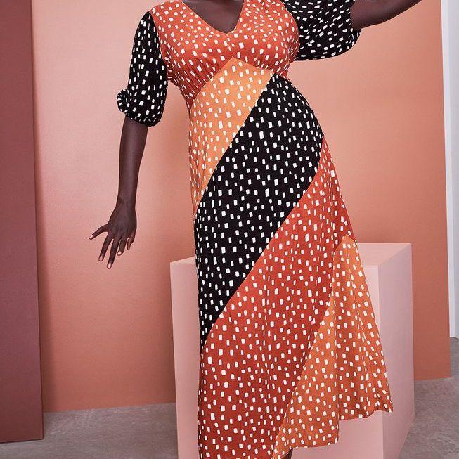 Eloquii Mixed Dot Maxi Dress