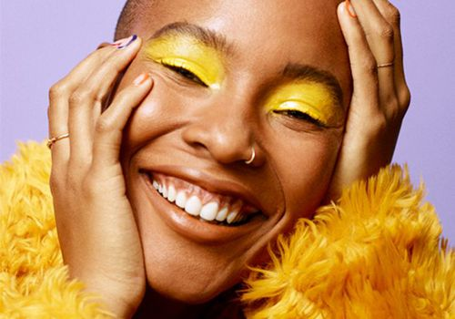 woman wearing yellow eyeshadow