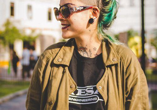 green hair and piercings