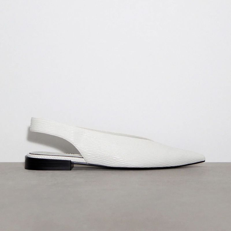 Low Heel Pointed Toe Slingback Flats