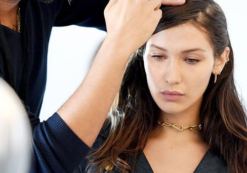 Model Bella Hadid getting her hair done