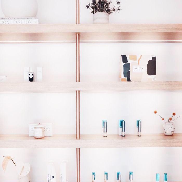 skincare shelves