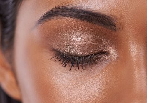close up of a woman's eyebrow