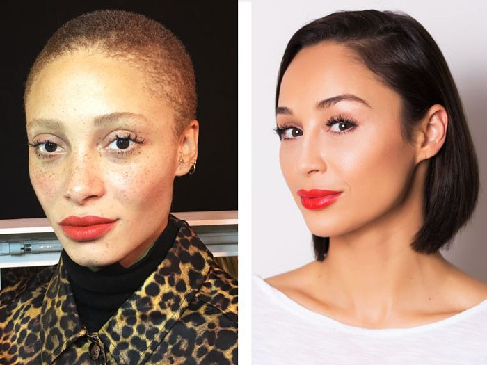 Two different women wearing a bold red lip