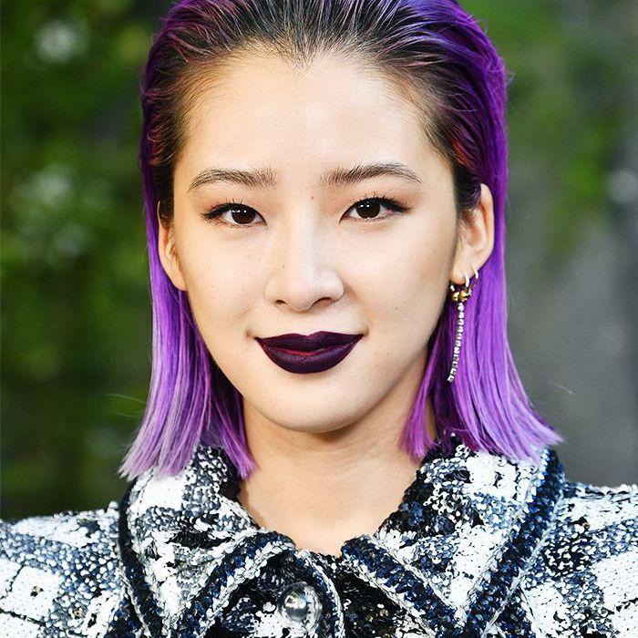 Purple hair: Irene Kim with purple hair