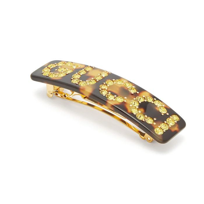 Gucci Crystal-Embellished Tortoiseshell Hair Clip