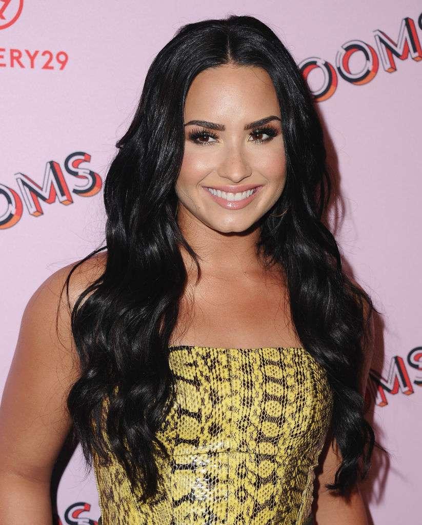 Demi Lovato super-long glossy wavy hair