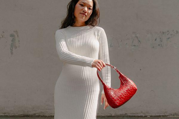 model wearing knit dress