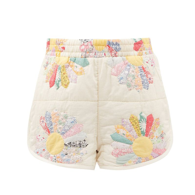 Patchwork Quilted Cotton Shorts