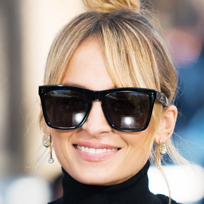 Nicole Richie topknot with curtain bangs