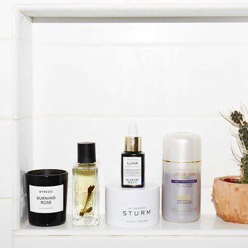 Skincare products on shelf