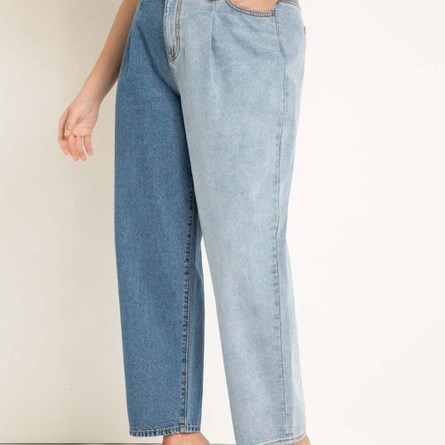 Colorblocked Pleat Front Relaxed Jeans ($110)