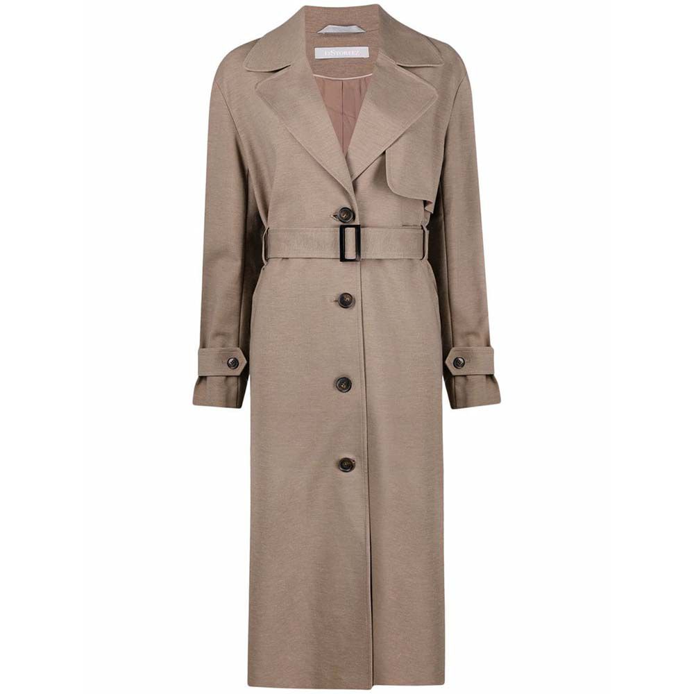 Belted Button-Up Trench Coat