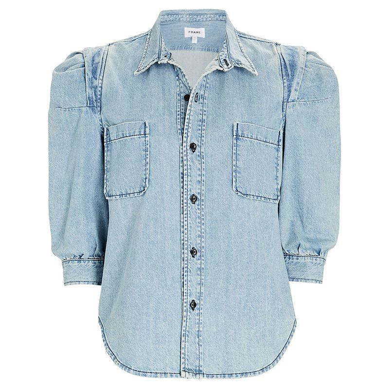 Rosette Puff Sleeve Denim Button-Up Shirt