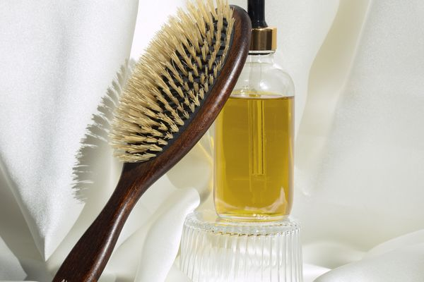 hair oil and brush