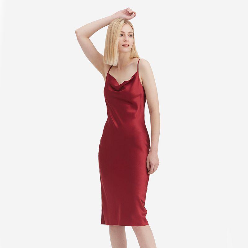 Elegant Alluring Cowl Neck Silk Slip Dress