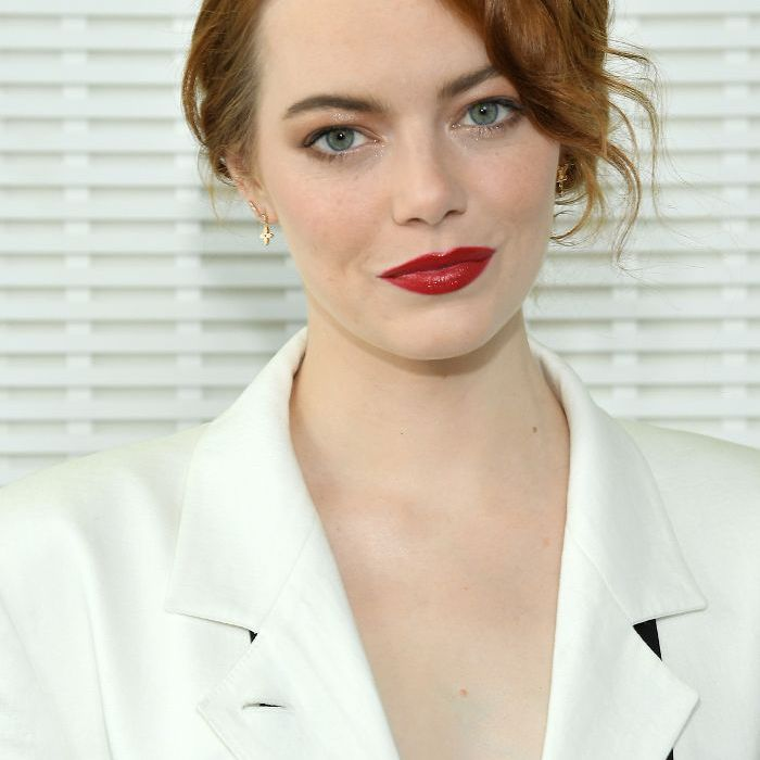 How to Find the Best Part for Your Face Shape 2014: Emma Stone with updo and red lips