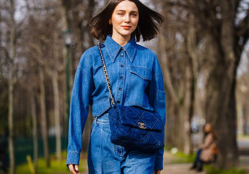 Woman wearing head-to-toe denim outfit