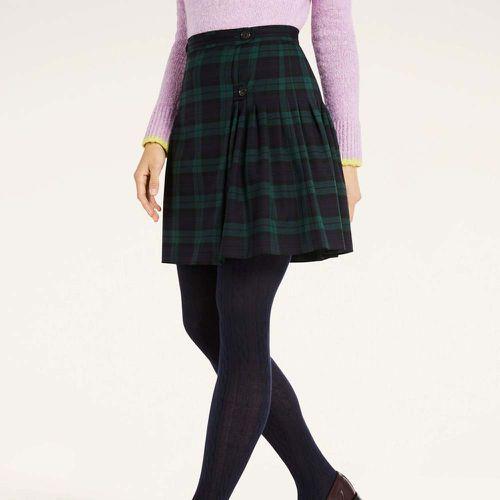 Black Watch Tartan Twill Pleated Skirt ($158)
