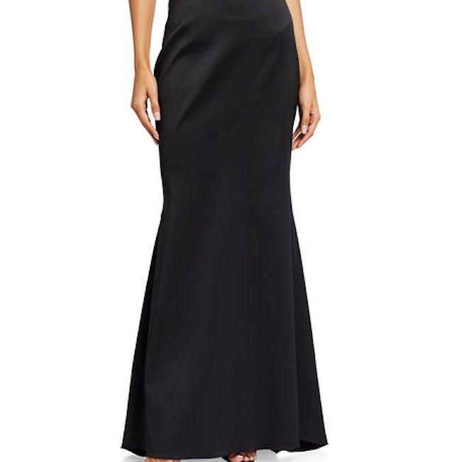 Badgley Mischka Long Mikado Fishtail Skirt
