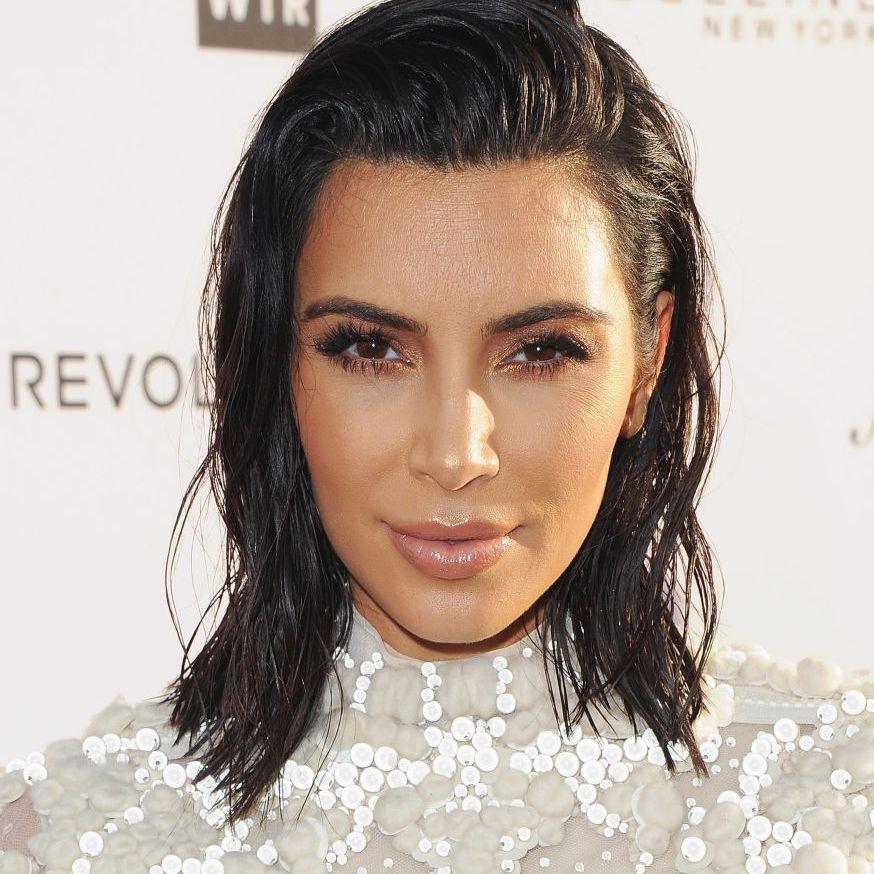 Kim Kardashian side flip shoulder-length