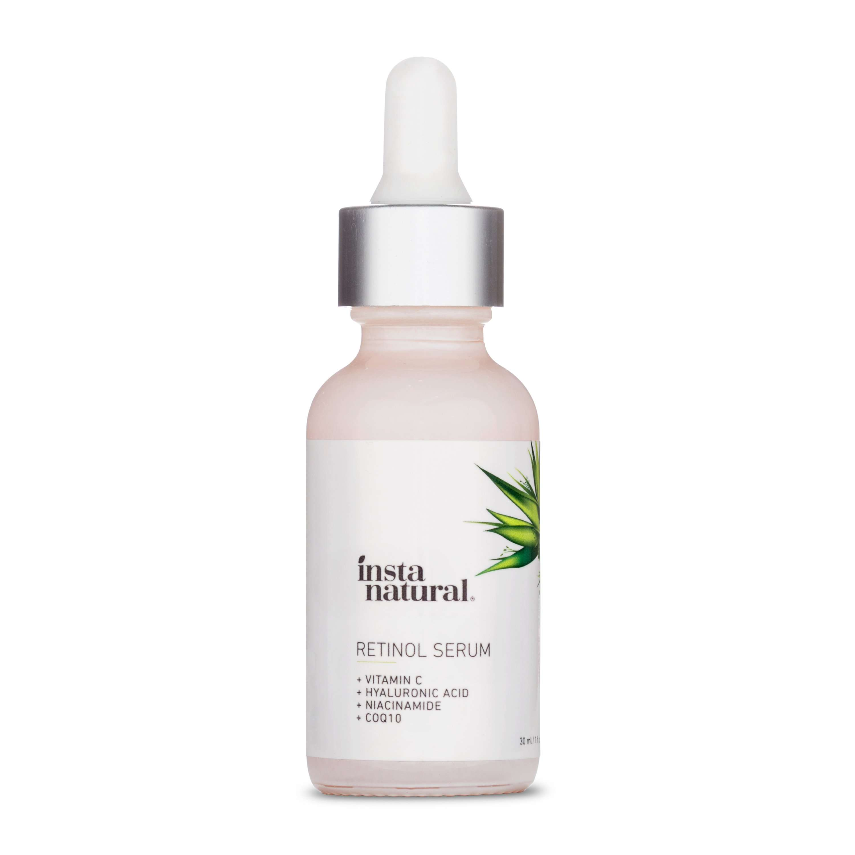 InstaNatural Retinol Serum in a pink glass bottle