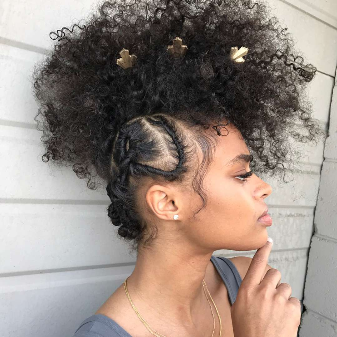 Whimsical, curly frohawk