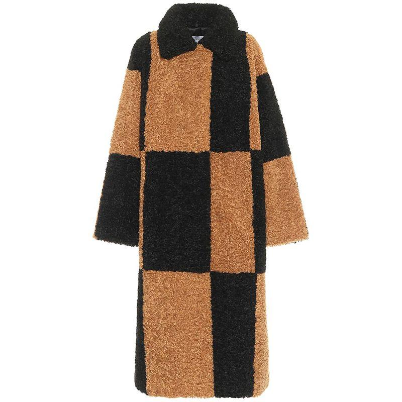 Nikki Checked Faux Shearling Coat
